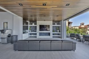 Las Vegas Residence Neolith Interior Exterior Fireplace, Wall Cladding and Flooring