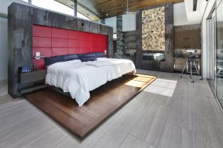 Las Vegas Residence Neolith Master Bedroom Interior Wall Cladding, Fireplace and Flooring