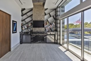 Las Vegas Residence Neolith Interior Fireplace and Shelving