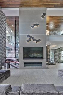 Las Vegas Residence Neolith Interior Fireplace with Accents