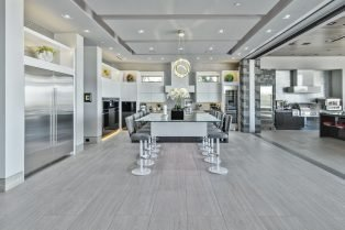 Las Vegas Residence Neolith Interior Kitchen Island with Countertop and Built in Dining Table