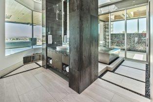 Las Vegas Residence Neolith Interior Master Bath Flooring and Vanity