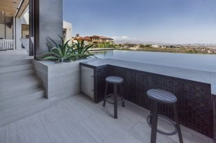 Las Vegas Residence Neolith Outdoor Bar and Flooring