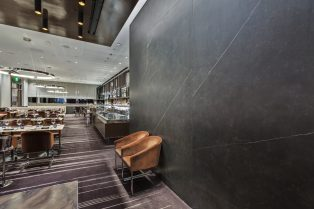 Wolfgang Puck Restaurant Las Vegas Neolith Flooring and Wall Cladding towards Seating Area and Bar